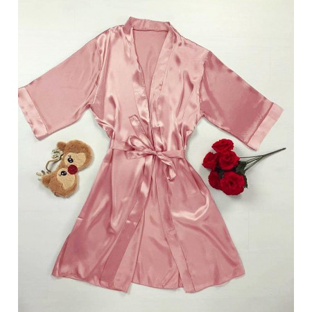 Halat dama rose din satin premium cu cordon