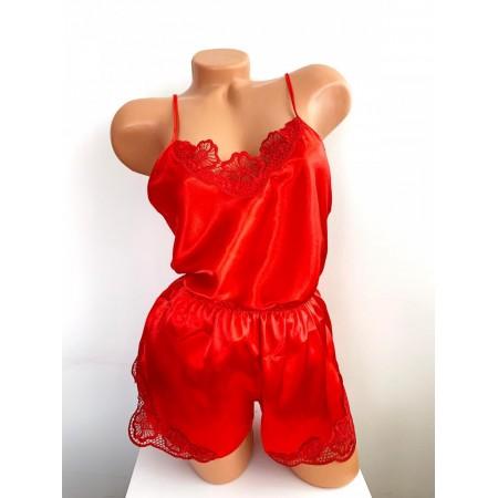 Compleu dama pijama set maiou si pantaloni scurti din satin rosu