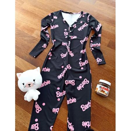 Pijama-salopeta dama neagra lunga cu imprimeu Barbie