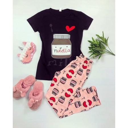 Pijama dama lunga neagra cu imprimeu Nutella