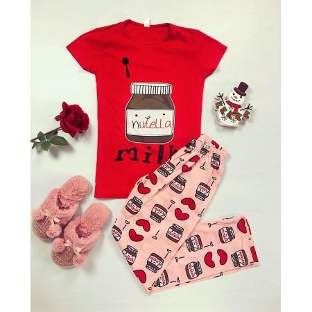 Pijama dama rosie cu imprimeu Nutella