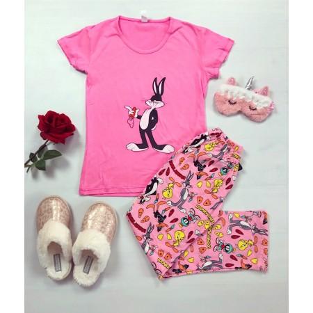 Pijama dama lunga roz cu imprimeu superb Bugs Bunny