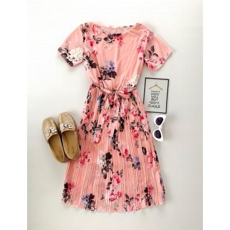 Rochie de zi roz de vara cu imprimeu floral si cordon