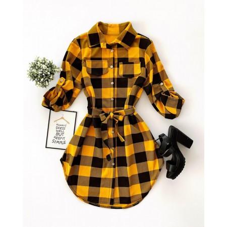 Rochie scurta de zi galbena stil camasa in carouri cu cordon si buzunare super cool