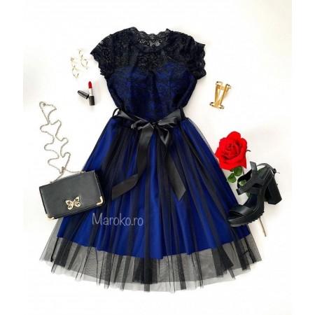 Rochie scurta eleganta de ocazie albastra cu dantela si tul cu cordon inclus