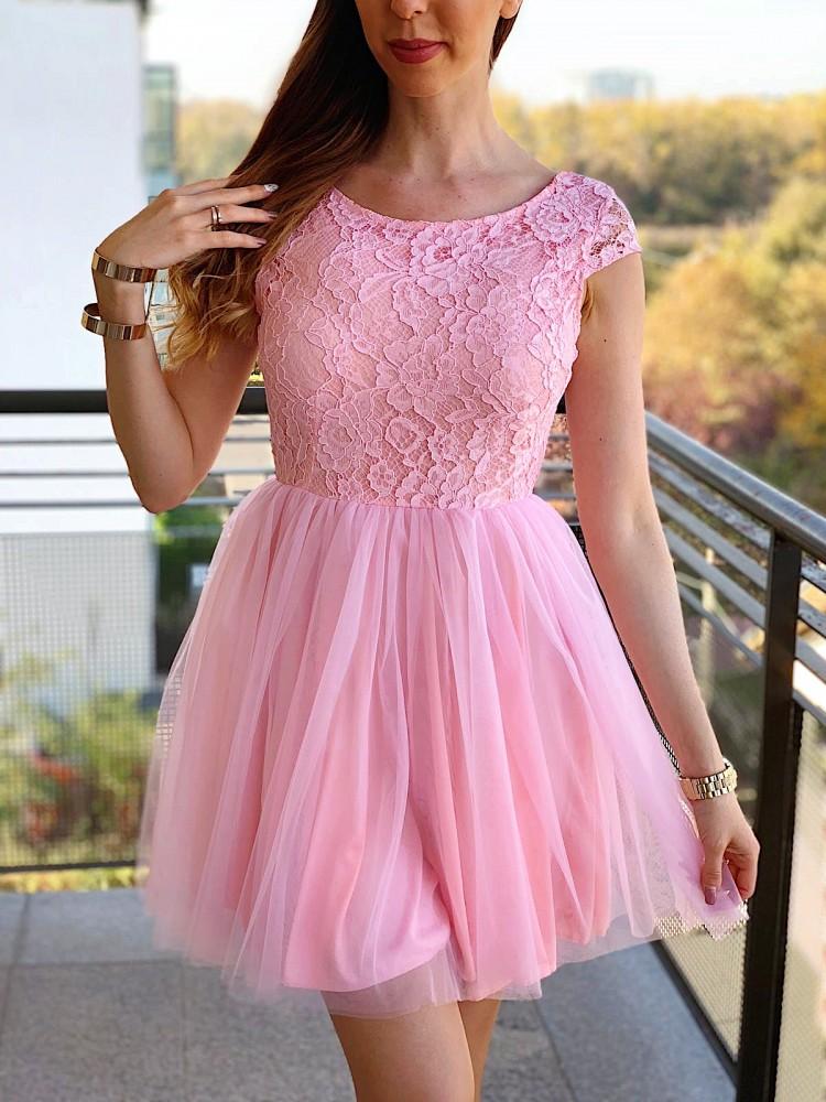 Rochie scurta eleganta de ocazie roz deschis cu dantela