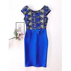Rochie eleganta scurta de seara albastra cu broderie