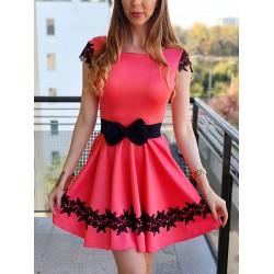 Rochie eleganta scurta de culoare corai cu broderie