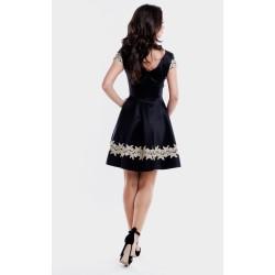 Rochie eleganta scurta neagra cu broderie aurie