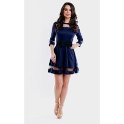 Rochie scurta eleganta bleumarin de ocazie cu dantela transparenta