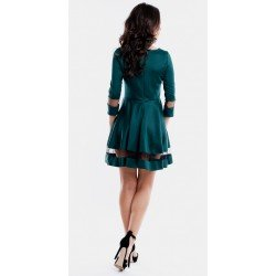 Rochie de seara eleganta verde in forma cloche