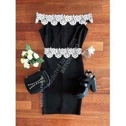 Rochie de seara neagra eleganta scurta cu broderie alba