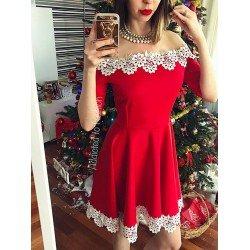 Rochie cu dantela scurta eleganta in cloche de culoare rosie