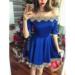 Rochie albastra cu dantela in cloche scurta eleganta