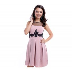 Rochie eleganta scurta roz prafuit cu broderie neagra