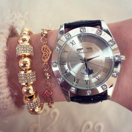 Ceas dama negru elegant exclusive cu pietricele