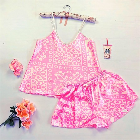Compleu pijama set maiou si pantaloni scurti din satin premium roz