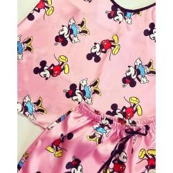 Compleu pijama set maiou si pantaloni scurti din satin premium roz cu Minnie
