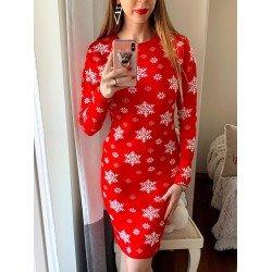 Rochie tricotata rosie cu fulgi pentru Craciun