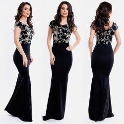 Rochie de seara eleganta lunga neagra cu broderie