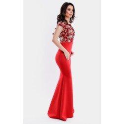 Rochie de ocazie eleganta lunga rosie cu broderie