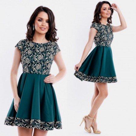 Rochie eleganta de ocazie verde cu broderie deosebita