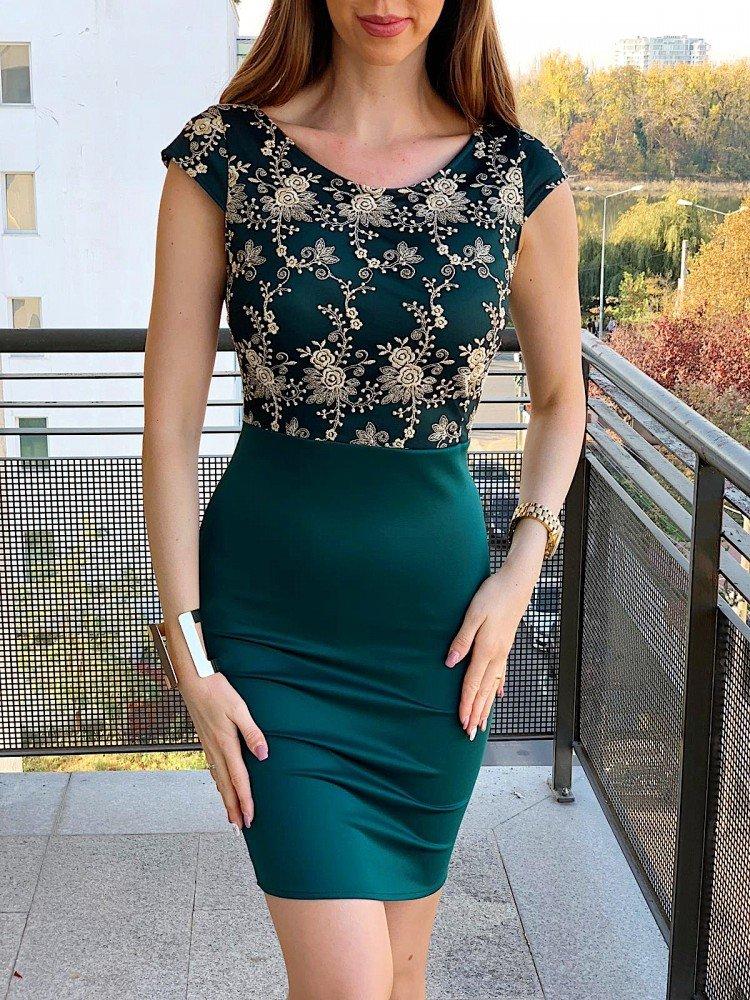 Rochie scurta verde eleganta pentru ocazii speciale