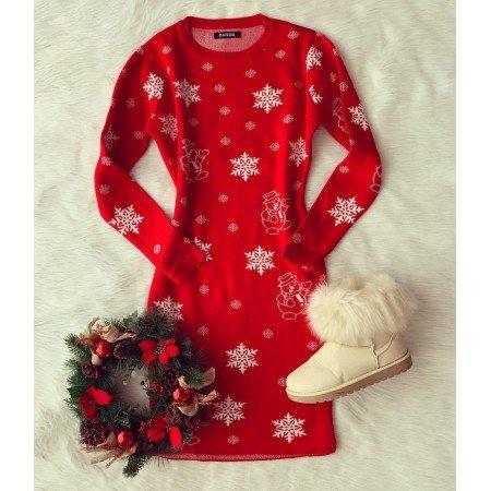 Rochie rosie pentru sarbatoare cu imprimeu fulgi tricotata
