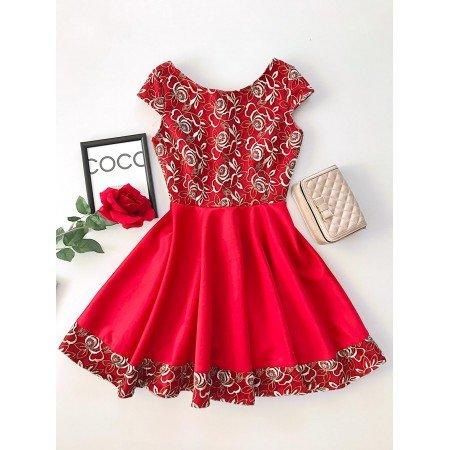 Rochie de ocazie eleganta scurta rosie cu broderie