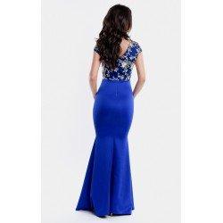 Rochie lunga de ocazie eleganta albastru deschis cu broderie