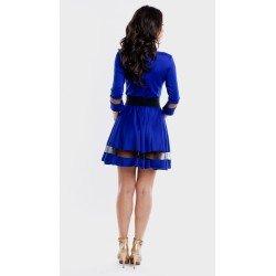 Rochie scurta eleganta albastra de ocazie in forma cloche