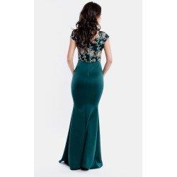 Rochie lunga eleganta verde de ocazie cu broderie