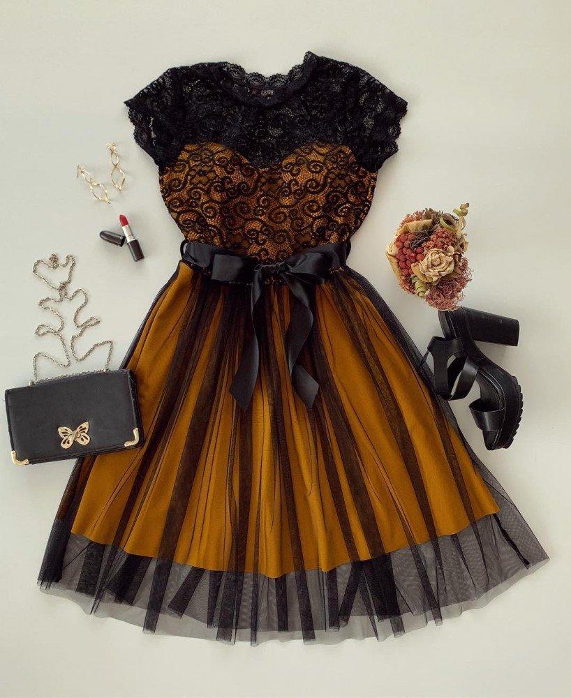 Rochie eleganta din dantela cu tul de ocazie galbena cu negru