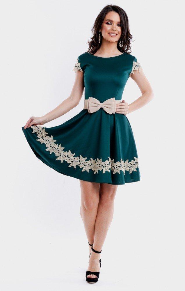 Rochie eleganta de ocazie verde cu broderie in forma cloche