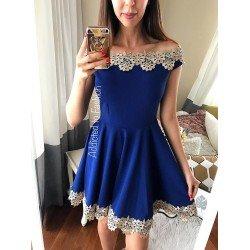 Rochie albastra de ocazie scurta cu broderie superba