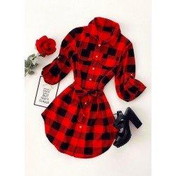 Rochie scurta de zi in carouri stil camasa rosu cu negru cu cordon
