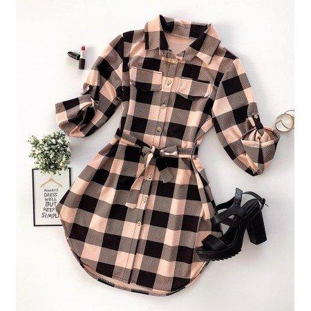 Rochie scurta de zi rose-negru in carouri stil camasa cu buzunare