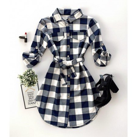 Rochie scurta bleumarin-negru in carouri stil camasa casual de zi