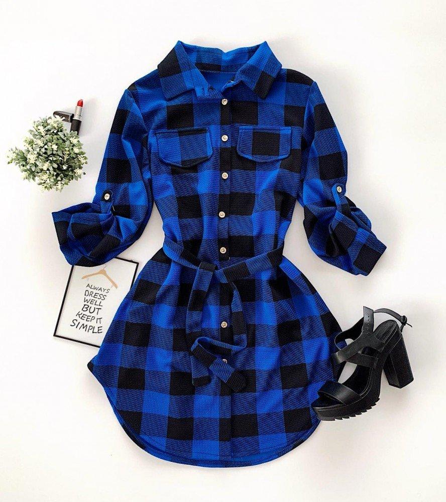 Rochie scurta albastra in carouri casual de zi stil camasa
