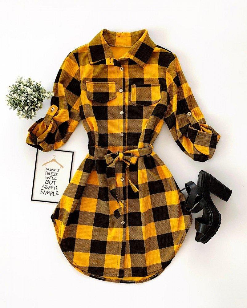 Rochie scurta de zi galbena stil camasa in carouri