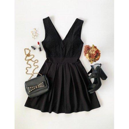 Rochie scurta neagra eleganta de seara in forma cloche
