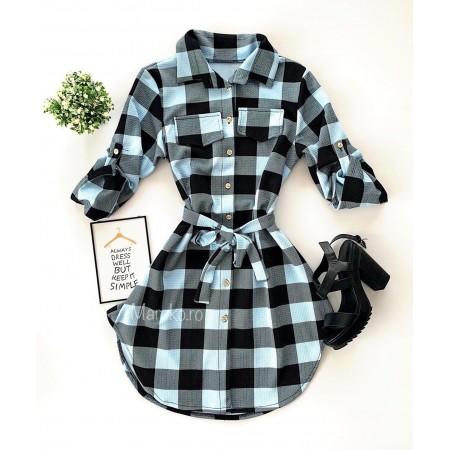 Rochie scurta de zi in carouri stil camasa de culoare negru-gri