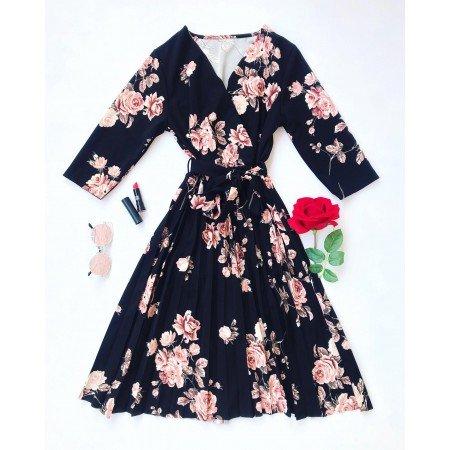 Rochie neagra de zi scurta eleganta cu imprimeu floral si cordon