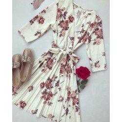 Rochie alba de zi scurta eleganta cu imprimeu floral si cordon