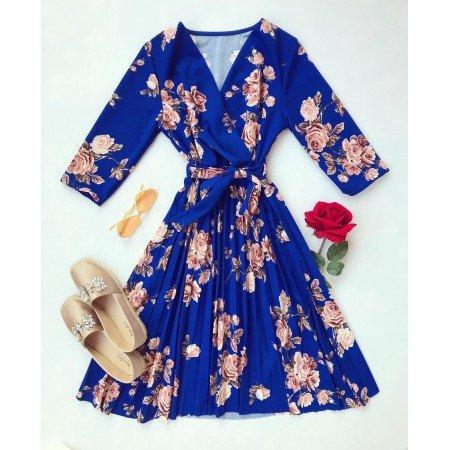 Rochie albastra de zi scurta eleganta cu imprimeu floral si cordon