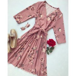 Rochie roz de zi scurta eleganta cu imprimeu floral si cordon