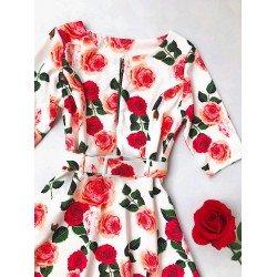 Rochie eleganta alba de zi cu imprimeu floral deosebit curea inclusa