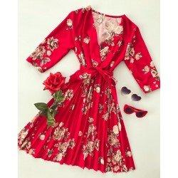 Rochie rosie de zi scurta eleganta cu imprimeu floral si cordon