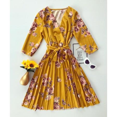 Rochie galbena de zi scurta eleganta cu imprimeu floral si cordon