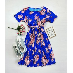 Rochie eleganta albastra pana la genunchi de zi cu imprimeu floral si cordon
